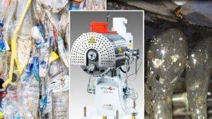 Feinabrieb, wie er beim Recycling von PET-Flaschen (links) entsteht, enthält bis zu 1,5 Prozent feste, gelförmige oder vernetzte Fremdstoffanteile. In den Extrusionsprozess eingebunden, trennen ECO-Hochleistungsschmelzefilter von Ettlinger diese Stoffe kontinuierlich zu fast 100 Prozent aus der Schmelze ab (rechts). (Foto: Ettlinger)